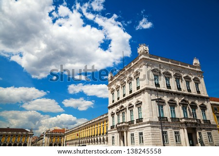 historical buildings at a great square in Lisbon, Portugal - stock photo