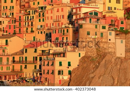 Historical buildings from Manarola at sunset, Cinque Terre, Italy - stock photo