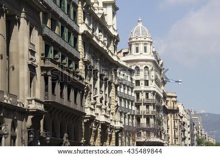 Historical buildings in Barcelona, Spain - stock photo
