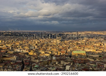 Historical buildings in Old Town and modern high-rises in Centro Direzionale in Naples in Italy