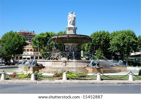 Historical buildings in the city Aix en provence in the south of France