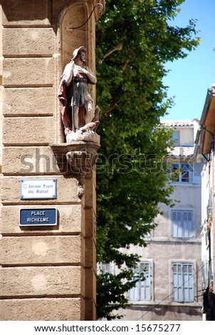 Historical buildings in the city Aix en provence in the south of France - stock photo