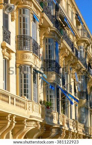 Historical buildings in the city of Nice, France