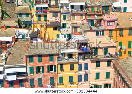 Historical buildings of Vernazza seen from above, Cinque Terre, Italy