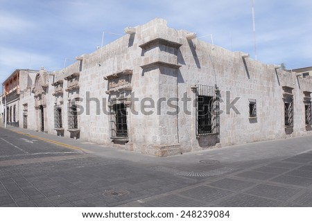 Historical buildings on the streets of Arequipa. Peru. - stock photo
