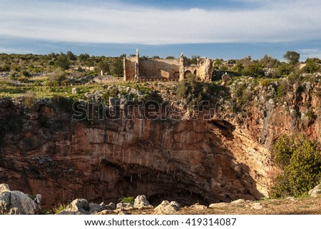 Historical Canytelis ancient city in Mersin on clear sky background