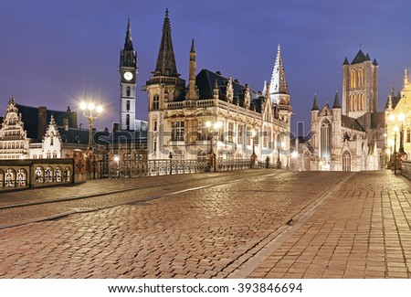 Historical center of Ghent at night, East Flanders, Belgium. - stock photo