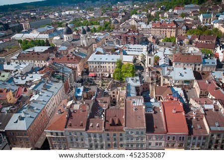 Historical center of Lviv / Lvov in western Ukraine. Panoramic view of the city in Europe