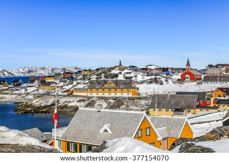Historical center of Nuuk - the capital of Greenland - stock photo