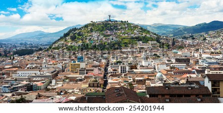 Historical center of old town Quito in northern Ecuador in the Andes mountains. Quito is the second highest capital city in the world - stock photo
