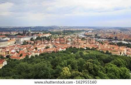 Historical center of Prague. View from Petrin Lookout Tower.