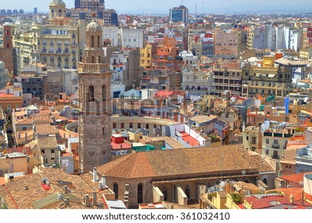 Historical center with Baroque belfry of Santa Catalina Church seen from above in Valencia, Spain - stock photo