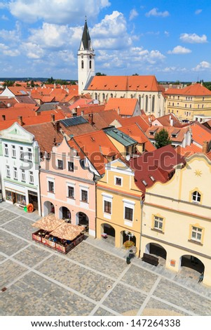 Historical city of Trebon (in German Wittingau), Czech Republic - stock photo