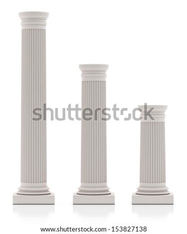 Historical Column, Three Size, Isolated on White - stock photo