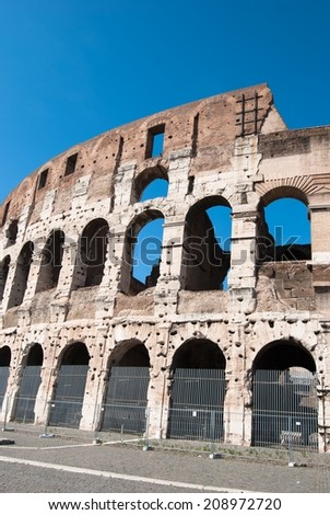 Historical coollosseum in the city Rome in Italy - stock photo