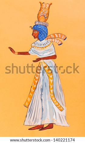 historical costume - wife of Pharaoh of Ancient Egypt is styled with wood carvings in Thebes first half of the 14th century BC
