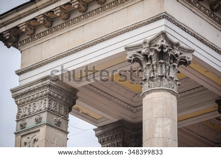 historical decorated carved stone column.