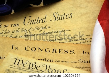 Historical Documents - United States Bill of Rights and American Flag