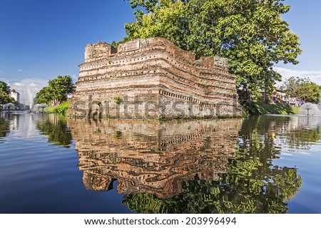 Historical fortress and ancient wall in chiang mai, landmark of Thailand (700 years old)   - stock photo
