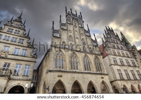 Historical gables in under cloudy sky in Munster, Germany