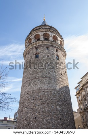 Historical Galata Tower in Galata Square, Beyoglu district, Istanbul, Turkey - stock photo