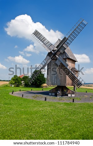Historical german wooden windmill in Krippendorf willage, Thuringia, Germany