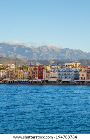 historical houses at sunny day, Chania, Crete, Greece - stock photo