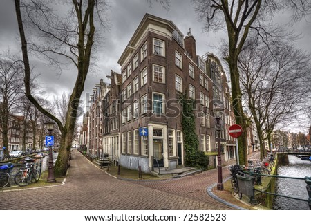 Historical houses in central Amsterdam, Holland