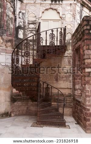 Historical iron stairway at the Mehrangarh Fort, Jodhpur, India - stock photo