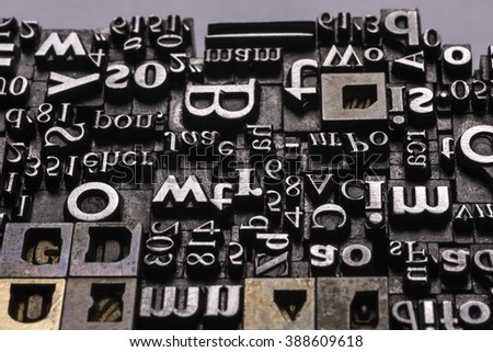 Historical letter press types, also called as lead letters. These kind of letters were used in Gutenberg presses. These letters were the beginning of typography. And were used in typesetting - stock photo