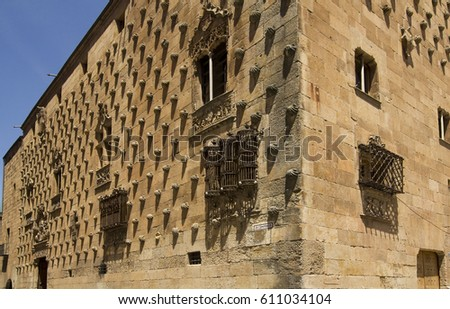 Historical library Casa de las Conchas, the walls covered with shells, in Salamanca, Spain