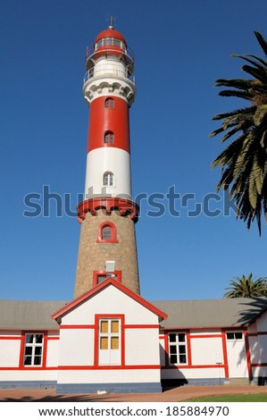 Historical lighthouse in Swakopmund, Namibia. Commissioned 1903,  It has a focal plane of 35 m (115 ft) with a 28 m (111 ft) round tower with lantern and double gallery.  - stock photo