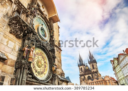 Historical medieval astronomical clock in Old Town Square in Prague, Czech Republic - stock photo