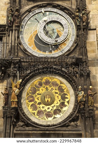 Historical medieval astronomical Clock in Prague on Old Town Hall, Czech Republic - stock photo