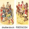 Historical military uniforms from Germany (left) and England (right) 1650-1800 / vintage illustration from Meyers Konversations-Lexikon 1897 - stock photo