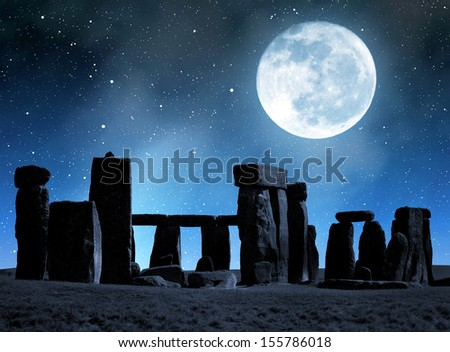 Historical monument Stonehenge in night,England, UK - stock photo