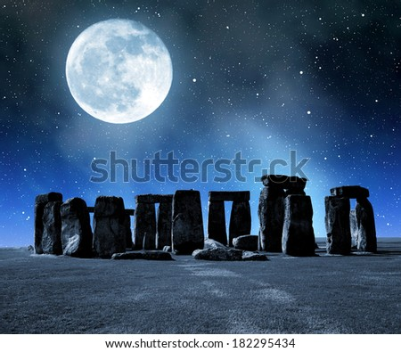Historical monument Stonehenge in night,England, UK - stock photo