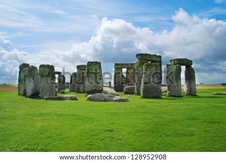 Historical monument Stonehenge not far from town of Amesbury, England - stock photo