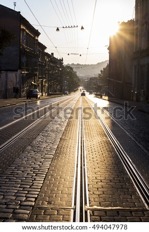 historical old Lviv in the evening , night Lviv, Ukraine, Europe