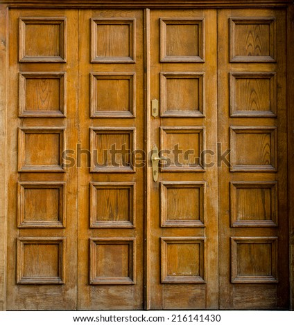 Historical Ornate Wooden Door, Prague, The Czech Republic - stock photo