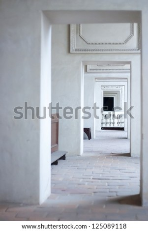 Historical Passage Through Doorway in a Temple. Focused on Background. Without any People - stock photo