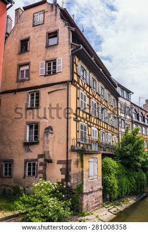 Historical picturesque european Town of Strasbourg, France. Historical Half Timbered Houses