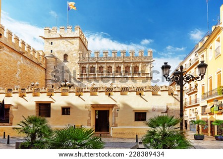 Historical place- Silk Exchange of Valencia.Spain . - stock photo