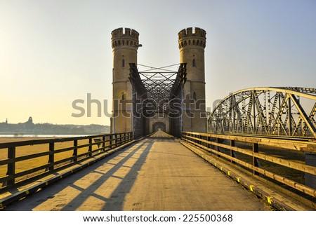 Historical railway bridge over the river Vistula, Tczew - Poland. - stock photo