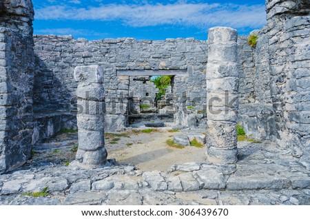 Historical ruins of ancient civilization of Maya. Tulum, Mexico. - stock photo
