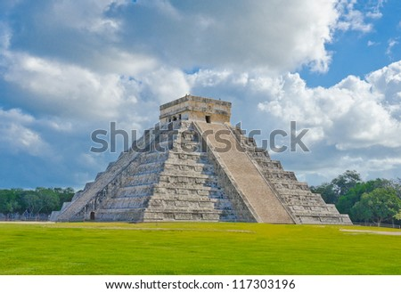 Historical ruins, pyramid of ancient civilization of Maya. Tulum, Mexico.