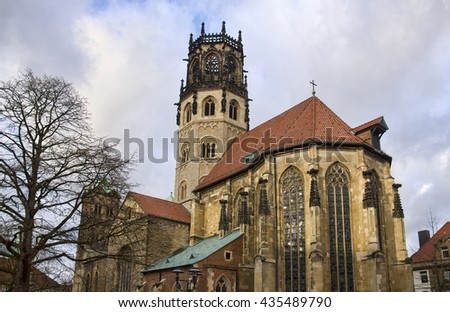 Historical Saint Ludgeri Church in Munster, Germany - stock photo