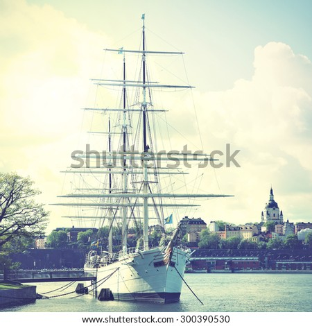 Historical ship at the Old Town in Stockholm, Sweden. Instagram style filtered image - stock photo