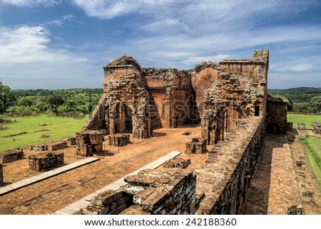 Historical site of Encarnacion and jesuit ruins in Paraguay, south America - stock photo