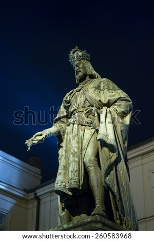 Historical statue (1848) of Charles IV (Karel IV) at night, near Charles Bridge. Prague, Czech Republic. Charles IV - Holy Roman Emperor, was the second king of Bohemia. - stock photo